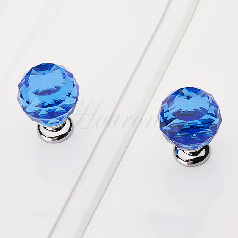 2015 new 1 pc 30mm blue crystal drawer knobs glass furniture pull cabinet knobs and Glass furniture pulls