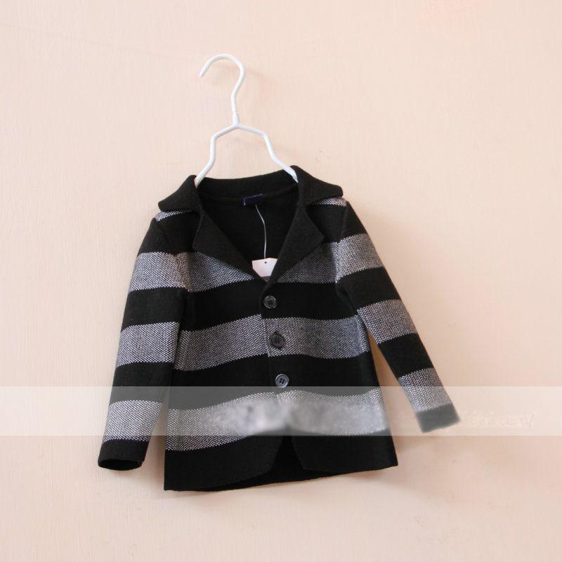 New Arrivals Children's suit jacket Girls knit black and white striped blazer(China (Mainland))