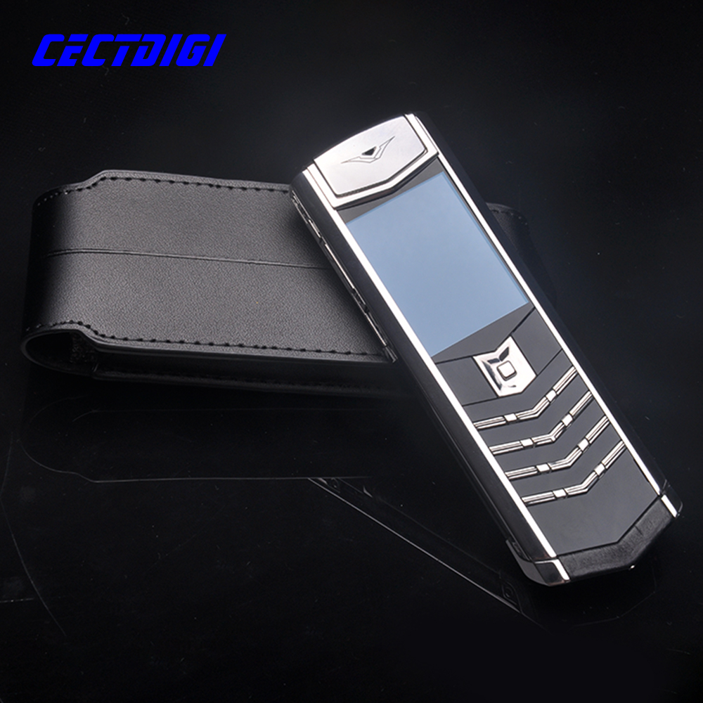 Latest Signature 2016 Luxury Silver Metal with Black Alligator Leather Invisible Keyboard Business Mobile Phone(China (Mainland))