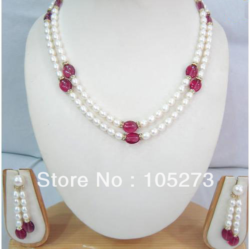 New Free Shipping Pearl Jewelry Set 18'' White Rice Freshwater Pearl Red Jade Necklace Earrings 6-10mm Top Quality Wholesale