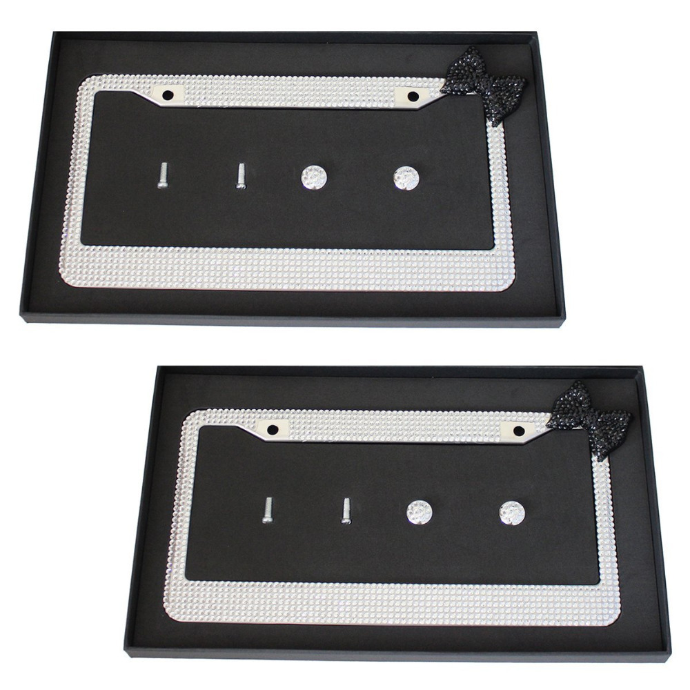 Free Shipping 2 Pack of Handmade Bling Rhinestones Stainless Steel Car License Plate Frame With Black Bowknot Fit For US Canada(China (Mainland))