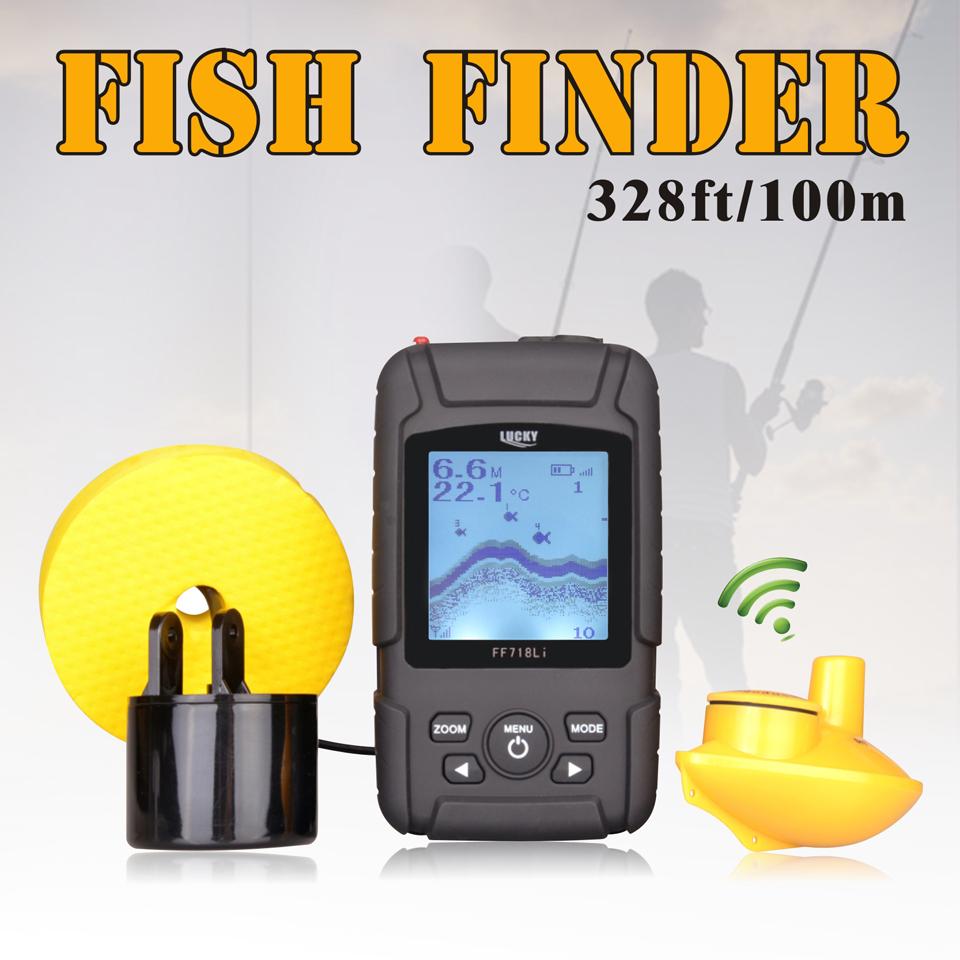 LUCKY 328ft /100m depth Fishfinder Sonar Transducer 2-in-1 Wired & Wireless Sensor +Portable Waterproof Fish Finder Host FF718Li(China (Mainland))