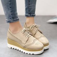 Fashion 2015 Womens Creepers Shoes Lace Up Platform Womens Flats Shoes Faux Leather Outdoor Ladies Flats Shoes Wholesales(China (Mainland))