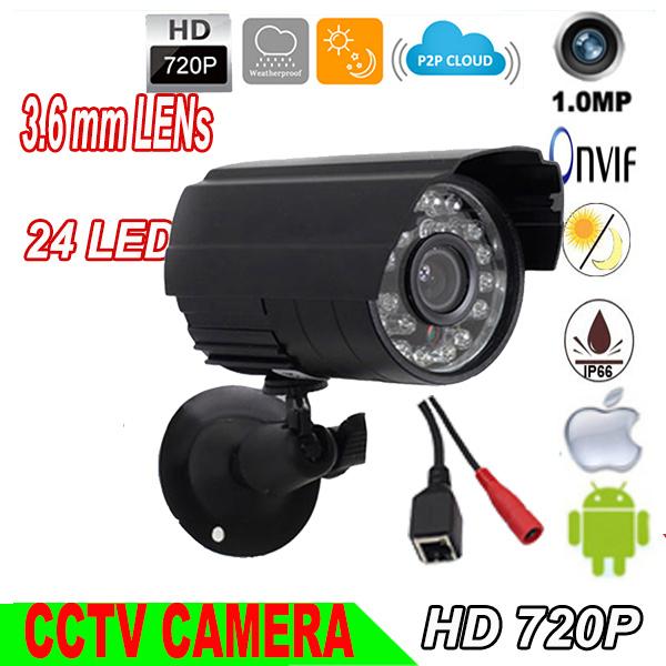 "1/4"" CMOS 720P IP Camera HD 1.0MP Network ONVIF2.0 Waterproof Outdoor Bullet CCTV Security Camera Support p2p 1280*720p(China (Mainland))"