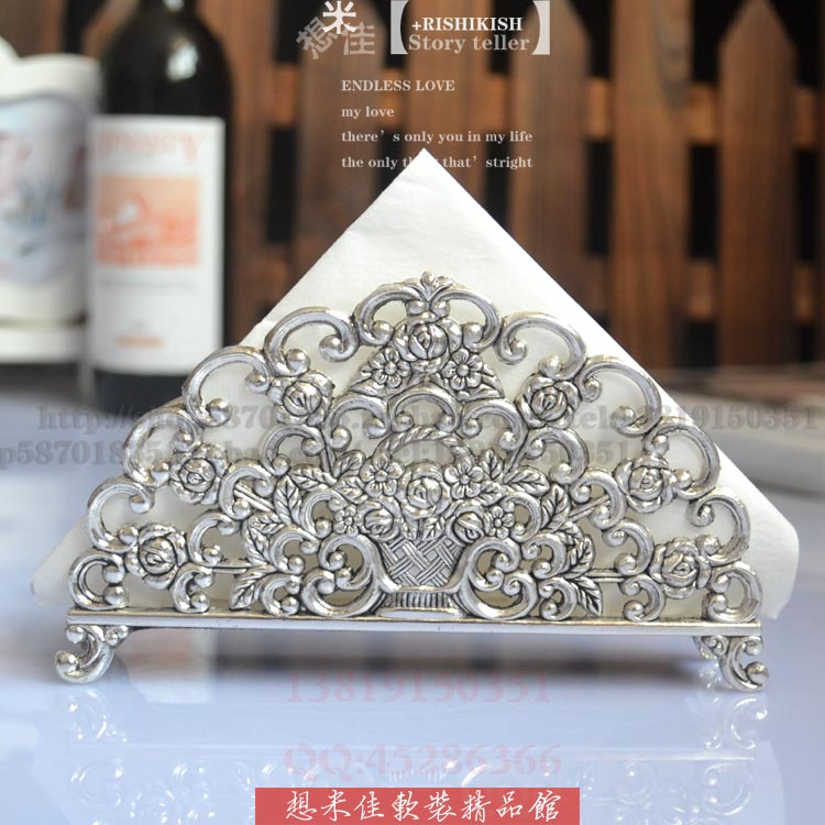 luxury alloy metal table tissue stand napkin sheet tissue paper holder embossed rose cutout silver gold table decoration 965A(China (Mainland))
