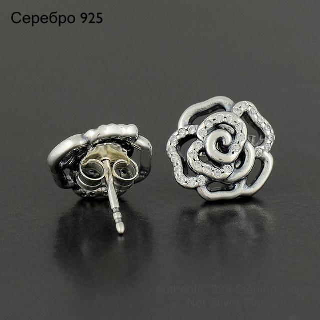 S925 стерлингового серебра роуз цветка сливы серьги с четкими CZ для женщин DIY украшения матч известная марка ювелирных изделий летний стиль