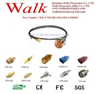 RF cable assembly: N male straight to RP-SMA male straight with LMR200 cable