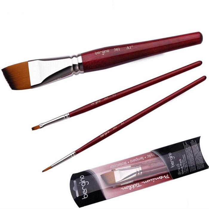 3pcs/set Nylon Hair Acrylic Watercolor Gouache Oil Painting Brush for Artist School Student Supplies<br><br>Aliexpress