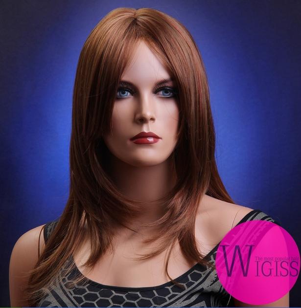 100% kanekalon wig color 30 homestuck wig manic panic wigs long kanekalon wig large cap straight dark brown 22inch women hair(China (Mainland))