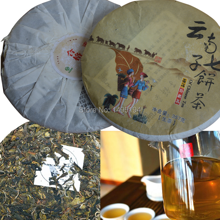 puer tea Free Delivery ancient seven Sub raw tea puerh pu er tea 357g Slimming beauty