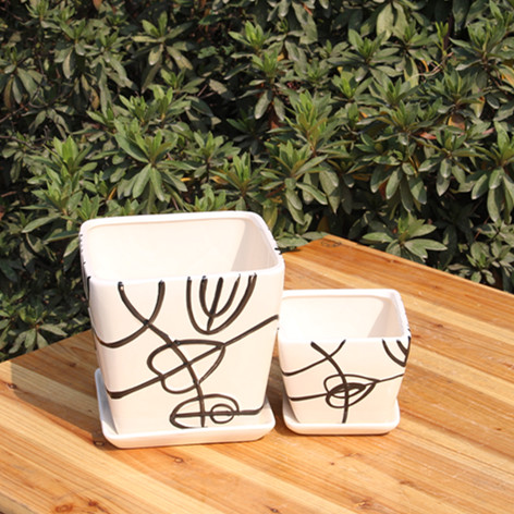 Ceramic POTS/medium high pot/tray fleshy flower pot Black and white and contemporary and concise(Medium diameter)(China (Mainland))