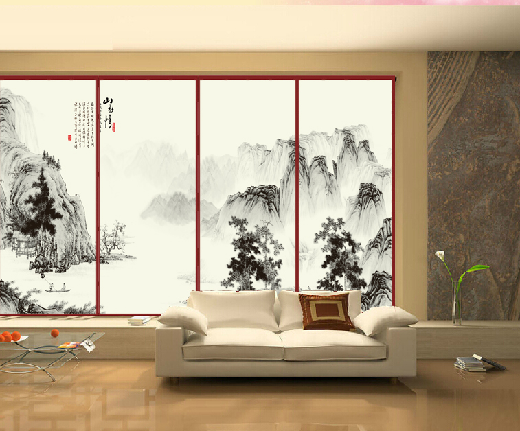 Personalized wall stickers ink and wash painting Removable wardrobe stickers home decor folding screen glass sticker CWPCN028(China (Mainland))