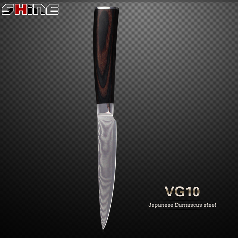 New Arrival Damascus Knife High End Japanese Vg10 Damascus Steel 5 Utility Knife With Wood