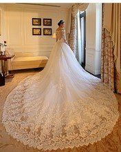 Gorgeous Wedding Dress 2016 Cathedral/Royal Train China Wedding Dress Ball Gown Vestido De Noiva V-neck Vintage Wedding Dress(China (Mainland))