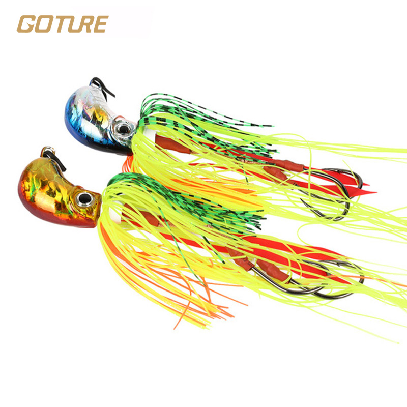 Goture 109g Squid Jigs Metal Fishing Jig head Jigging Lure Saltwater Fishing Lures Octopus With Undulating Skirts(China (Mainland))