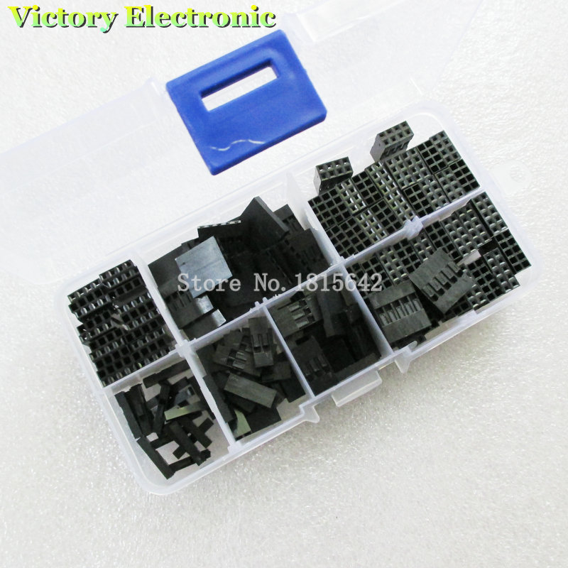 140PCS/LOT 2.54mm Plastic Dupont Jumper Wire Kit With Box 1P 2P 3P 4P 5P 2*4P 2*5P Wire Plug Cable Housing Female Pin Connector<br><br>Aliexpress