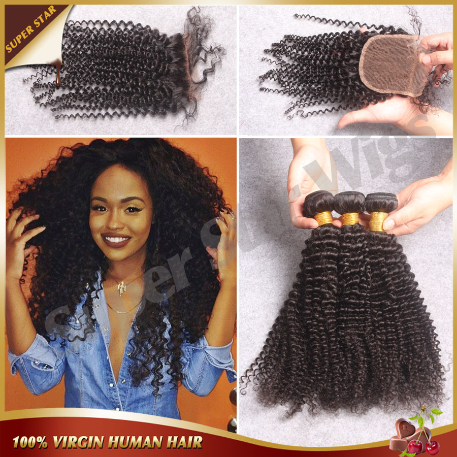 Cheap Malaysian Kinky Curly Hair With Closure 100% Unprocessed Virgin Human Hair 3 Bundles With Closure Bleached Knots Free Ship