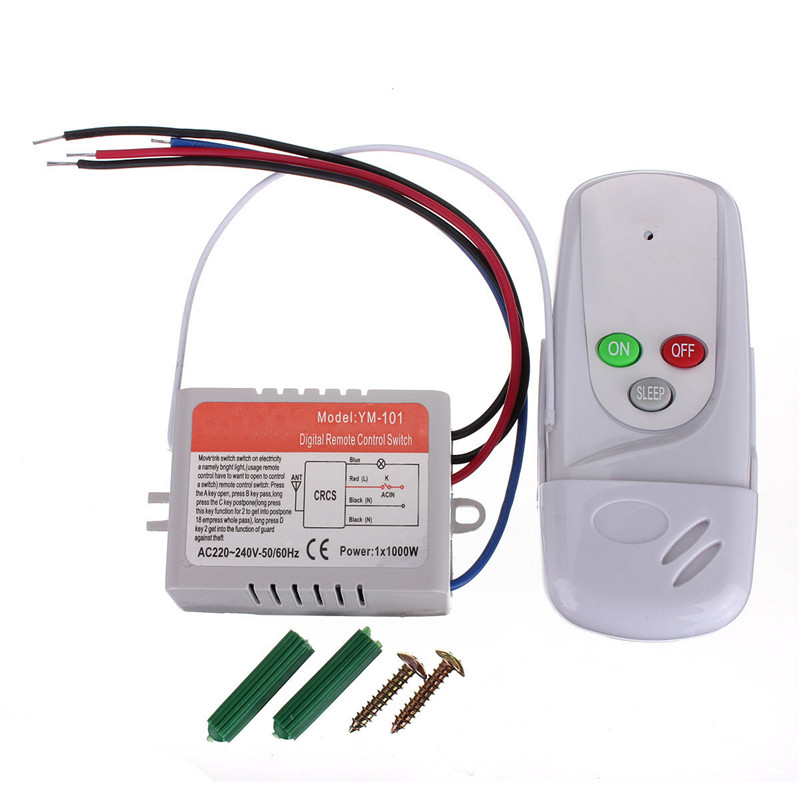 Wireless Anti-interference 1 Way Light Lamp Remote Control Switch ON/OFF 220/110V Remote Control Range Over 20M(China (Mainland))