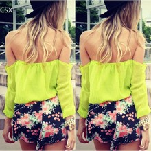 Summer Style 2015 Women Chiffon Blouse Off The Shoulder Ladies Sexy Backless Blouses Women Slash Neck Casual Tops Yellow 24