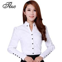Buy TLZC Elegant Women Career White Shirts Size S-2XL Long Sleeve Button Design Clothing 2017 Office Classic Lady Casual Blouses for $11.53 in AliExpress store