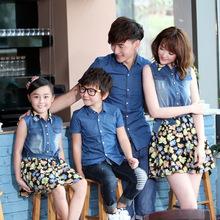 2016 семья посмотрите девушка и платье матери отца и сына одежды рубашка соответствия мать дочь одежда мама и дочь платье(China (Mainland))
