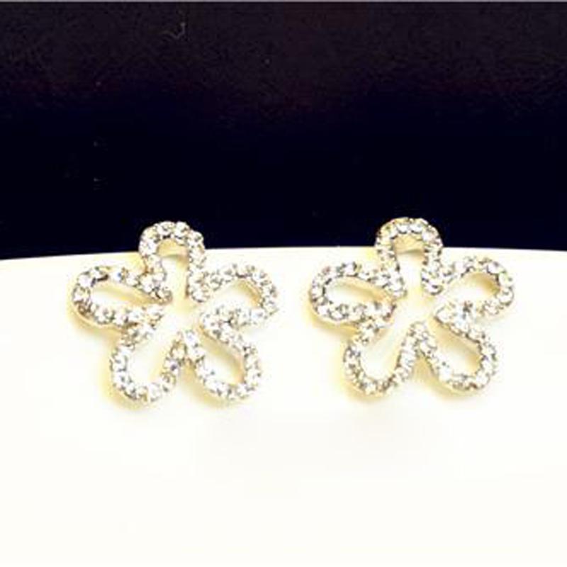 Fresh Temperament Fashion Imitate Diamond Hollow Flower Pierced Ladies Trendy For Women Stud Earring Jewellery Accessories E478(China (Mainland))