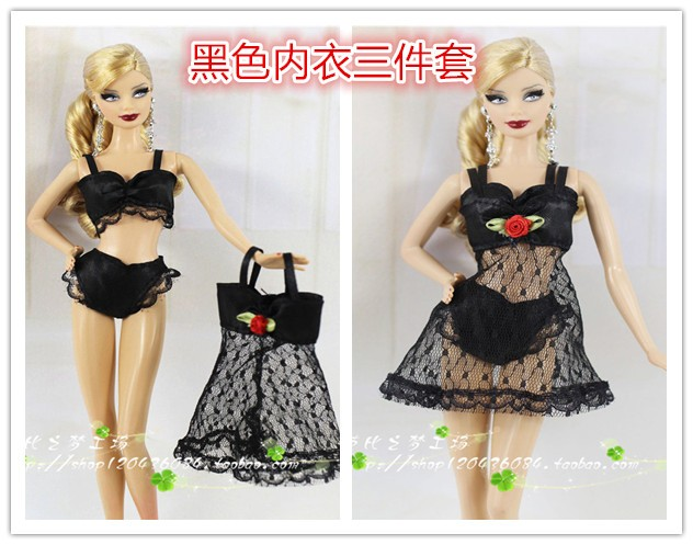 2016new 4Sets Colourful Attractive Pajamas Lingerie Nightwear Lace Evening Costume +Bra +Underwear Garments For Barbie Doll,doll equipment
