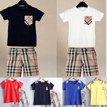 For 90-130cm branded kids clothes sets boys  2pcs suit summer casual  short sleeve t shirt + plaid pants(China (Mainland))