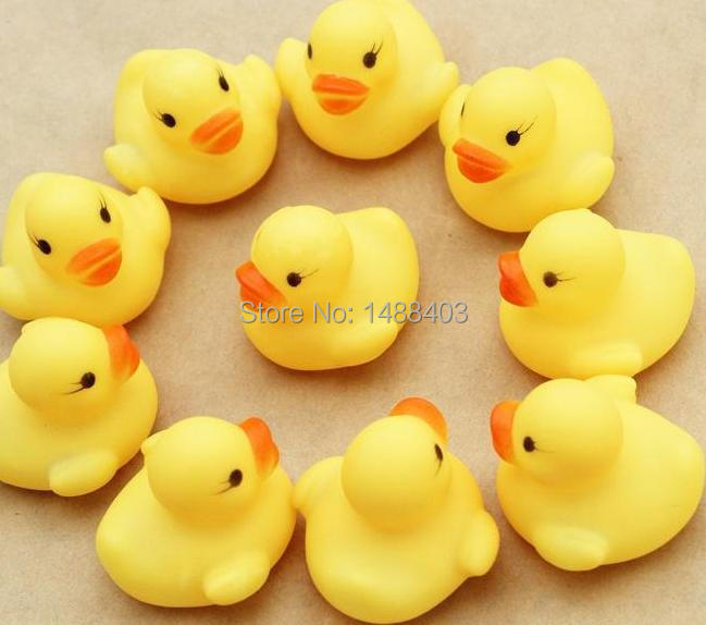 20pcs/lot Wholesale Mini Bath Duck Sound Floating Rubber Ducks  Squeeze-sounding Dabbling Toy Rubber Duck  Classic Toys(China (Mainland))