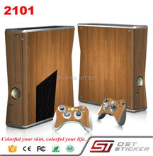 Light Wooden Vinyl Skin Sticker Protector For Microsoft Xbox 360 Slim and 2 Controller Skins Stickers for XBOX360 SLIM