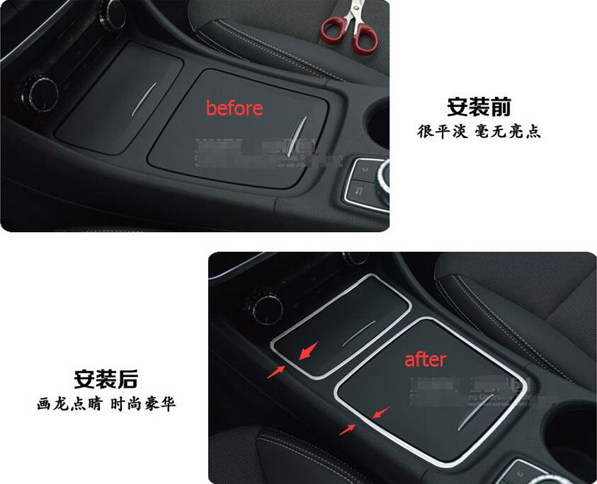 For Mercedes-Benz A Class W176 B Class W246 2013 2014 2015 Metal Center Console Ashtray Storage Box Lid Frame Cover Sticker<br><br>Aliexpress