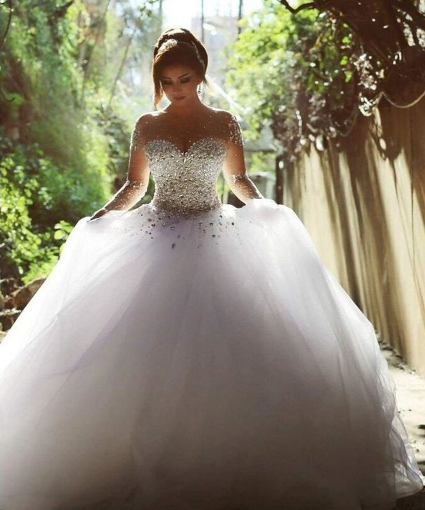 Aliexpresscom buy elegant luxury bride long sleeve ball for Long sleeve ball gown wedding dress