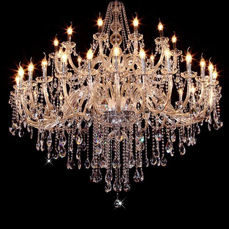 Led lamps large crystal chandelier modern big candle for Large modern chandelier lighting