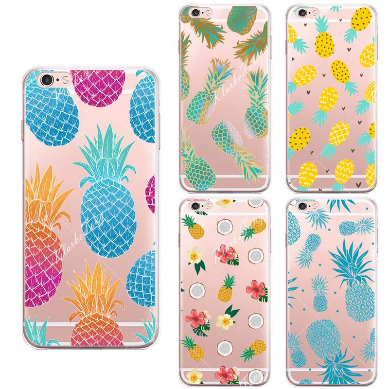 Capa Fruit Pineapple Case Cover For iphone SE 5 5S 6 6S Plus Transparent Silicone Cell Phone Cases(China (Mainland))