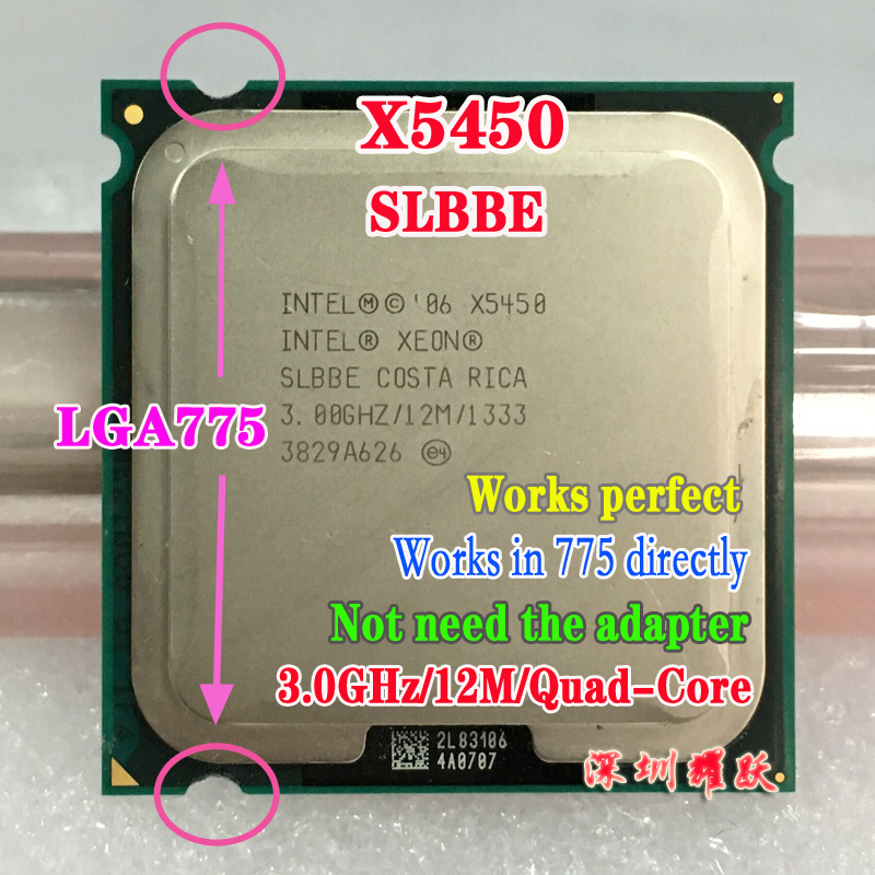 Intel Xeon X5450 SLBBE EO Processor close to LGA775 Core 2 Quad Q9650 CPU, works on LGA 775 mainboard no need adapter(China (Mainland))