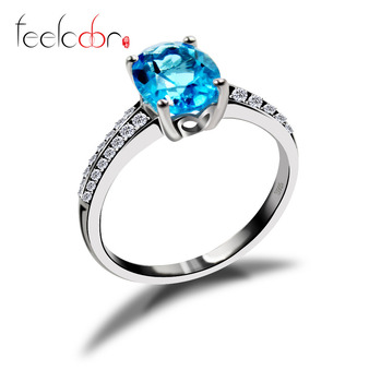 Natural Gem Stone Blue Topaz Halo Ring For Women-Real Solid 925 Sterling Silver Promise Ring-Best Quality Famous Brand Jewelry