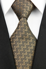 NT0184 Brown Black Stripe Fashion Smooth Jacquard Woven Silk Polyester Mans Classic Business Wedding Party Tie