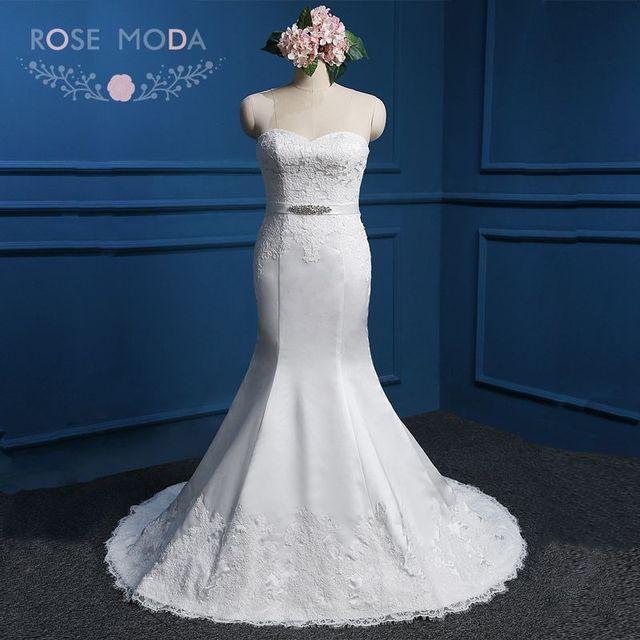 Реальные фото без бретелек возлюбленной атласная русалка свадебное платье с кристально ...