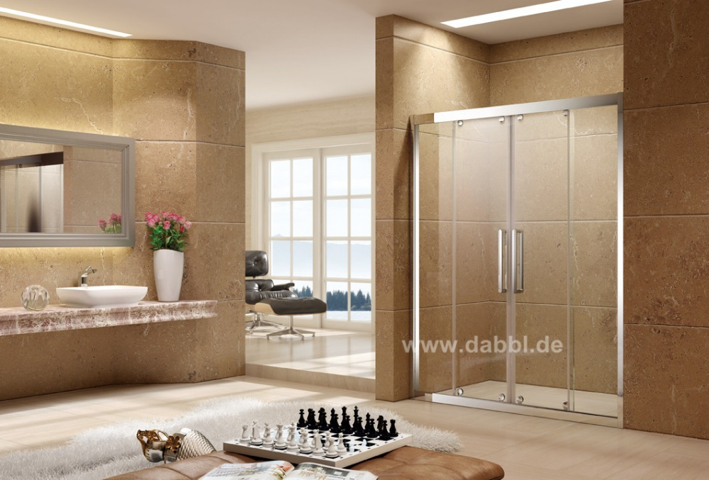 1500x1950mm Shower Enclosure Sliding Glass Shower Door With Aluminum Frame Rollers DY-PMP156(China (Mainland))