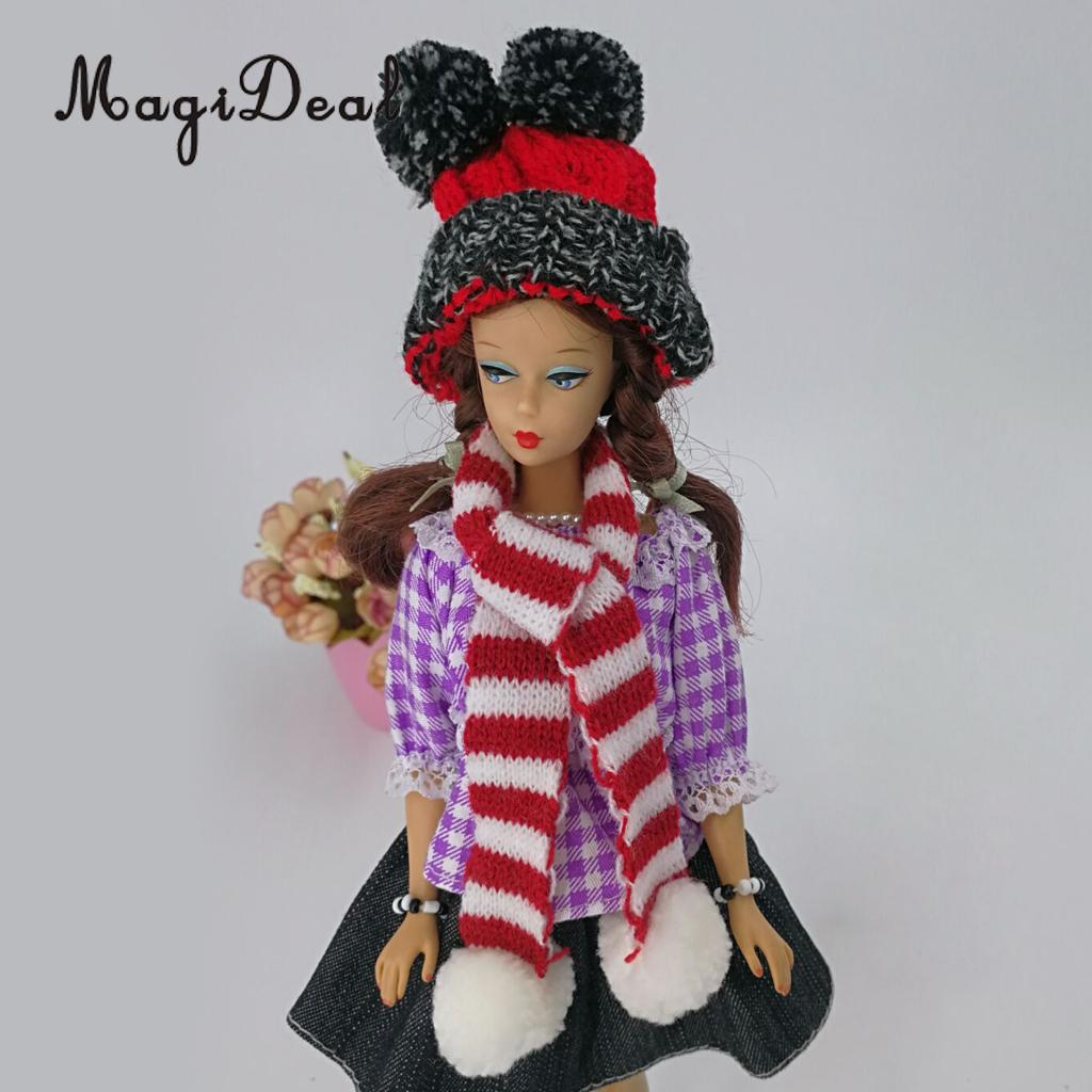 Cute Christmas Party Clothing Accessory - Hand Knitted Woolen Beanie Hat Ski Cap For Monster High Girl Dolls Xmas Dress-up