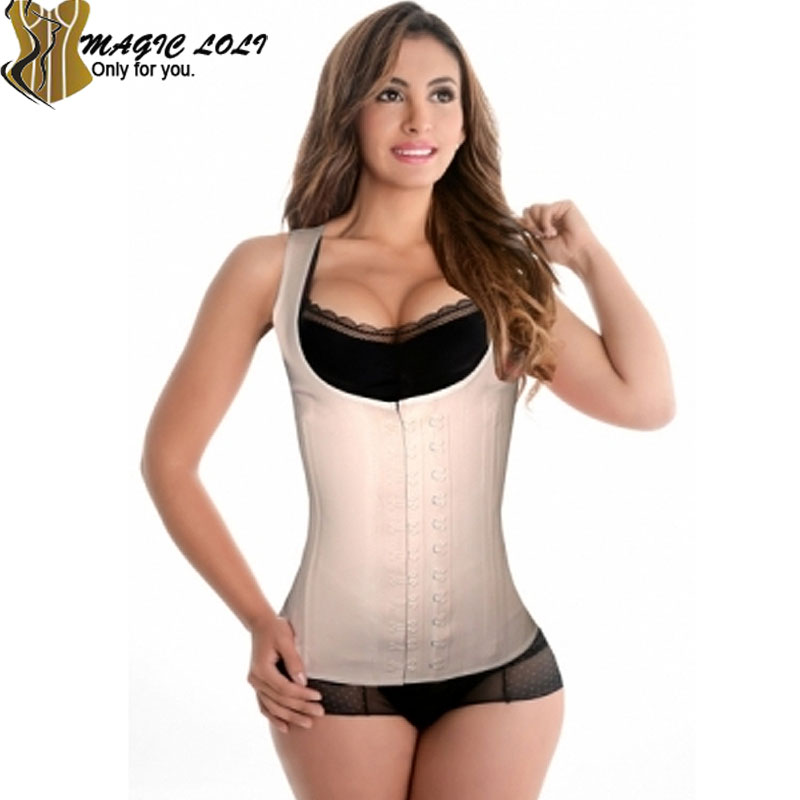 New 2016 gaie latex affinant la taille 9 Steel Boned Waist Training Corset Plus Size Lingerie Corsets and Bustiers Corselete(China (Mainland))