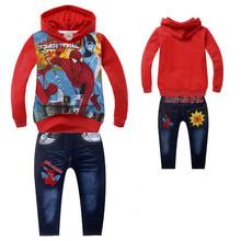 New Fashion 2014 Children Outfits SpiderMan Tracksuit  Clothing Children Hoodies + Kids Pants Sport Suit Boys Clothing Set
