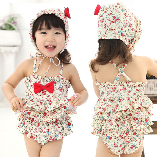 2015 floweryness rustic child swimwear girls one piece bathing suits