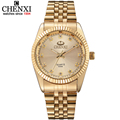 Golden New Clock gold Fashion Men watch full gold Stainless Steel Quartz watches Wrist Watch Wholesale