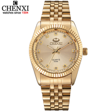 Buy Golden New Clock gold Fashion Men watch full gold Stainless Steel Quartz watches Wrist Watch Wholesale CHENXI Gold watch men for $11.10 in AliExpress store