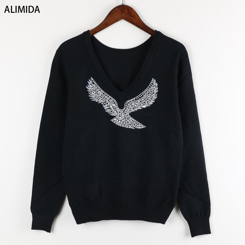 2017 Spring New Fashion Women Sweaters Full Sleeve V-Neck Beaded Eagle Diamond Pullovers Computer Knitted Pageant(China (Mainland))