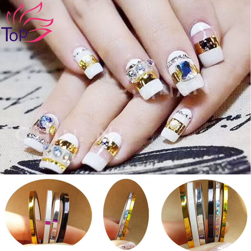 Top Nail 8 Rolls/Lot 2mm & 3mm Width 3D Nail Art Tips Striping Tapes Foil Line Beauty Stickers For Nails Decal Decorations JH181(China (Mainland))