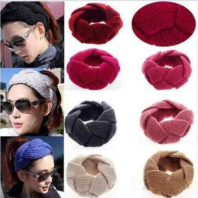 1Pc New Hot Fashion Crochet Twist Knitted Headwrap Headband Winter Warmer Hair Band 12 Colors Fashion head band Drop Free(China (Mainland))