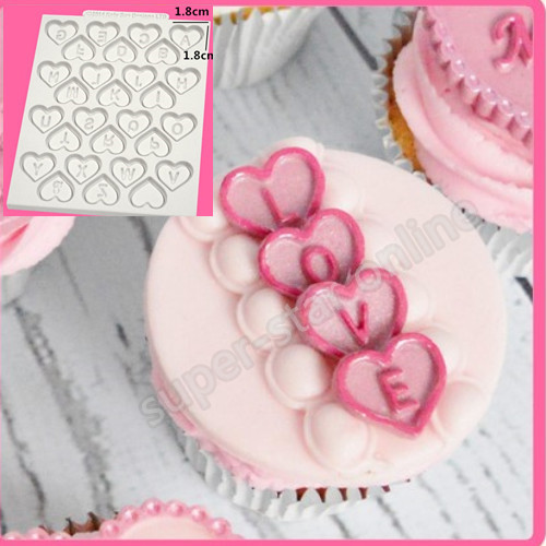 Fondant Silicone Mold Cake Decorating Tools 3D Sweet Heart English Letter Alphabet Chocolate Cupcake Cooking Tools Soap Candy(China (Mainland))