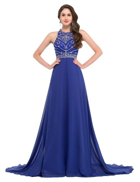 Грейс карин горный хрусталь королевский синий вечернее платье длиной поезд женщины ...